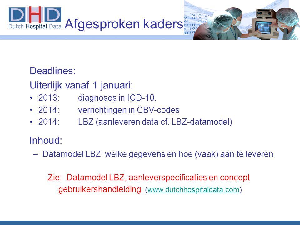 Afgesproken kaders Inhoud: –Datamodel LBZ: welke gegevens en hoe (vaak) aan te leveren Deadlines: Uiterlijk vanaf 1 januari: 2013: diagnoses in ICD-10