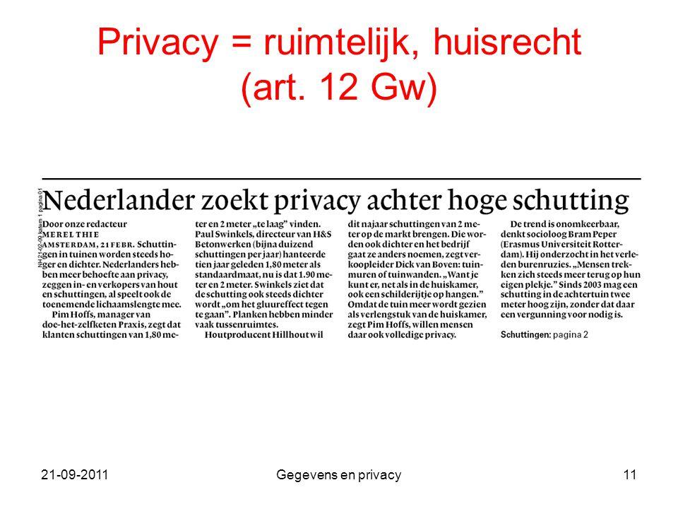 21-09-2011Gegevens en privacy11 Privacy = ruimtelijk, huisrecht (art. 12 Gw)