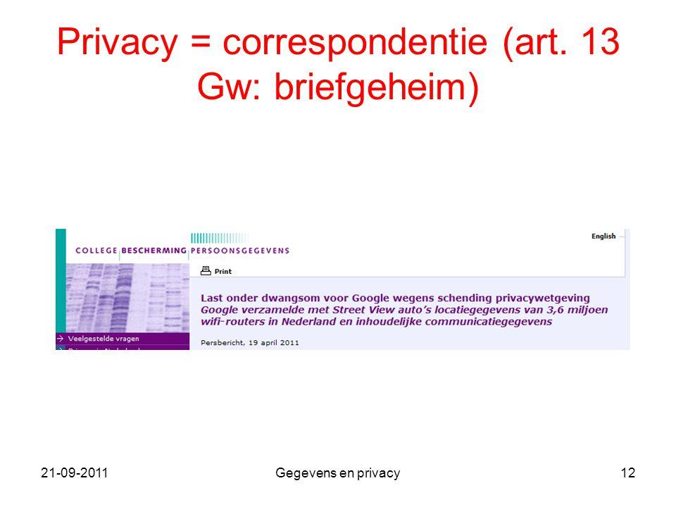 21-09-2011Gegevens en privacy12 Privacy = correspondentie (art. 13 Gw: briefgeheim)
