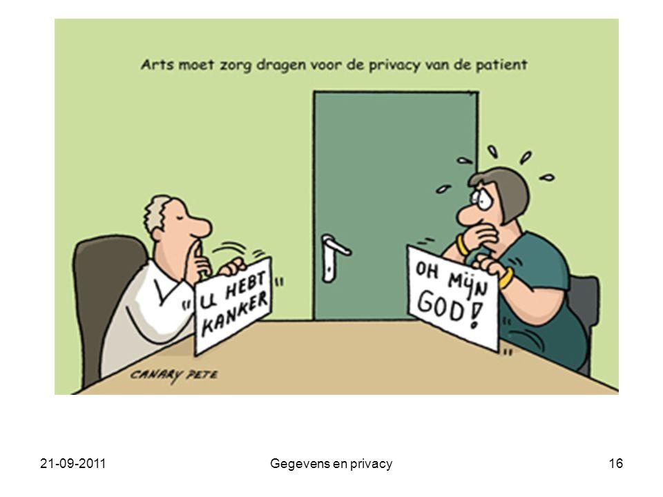 21-09-2011Gegevens en privacy16
