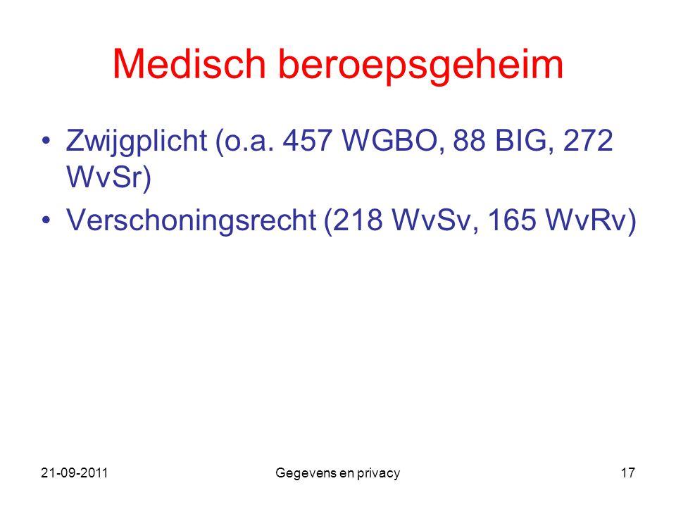 21-09-2011Gegevens en privacy17 Medisch beroepsgeheim Zwijgplicht (o.a. 457 WGBO, 88 BIG, 272 WvSr) Verschoningsrecht (218 WvSv, 165 WvRv)