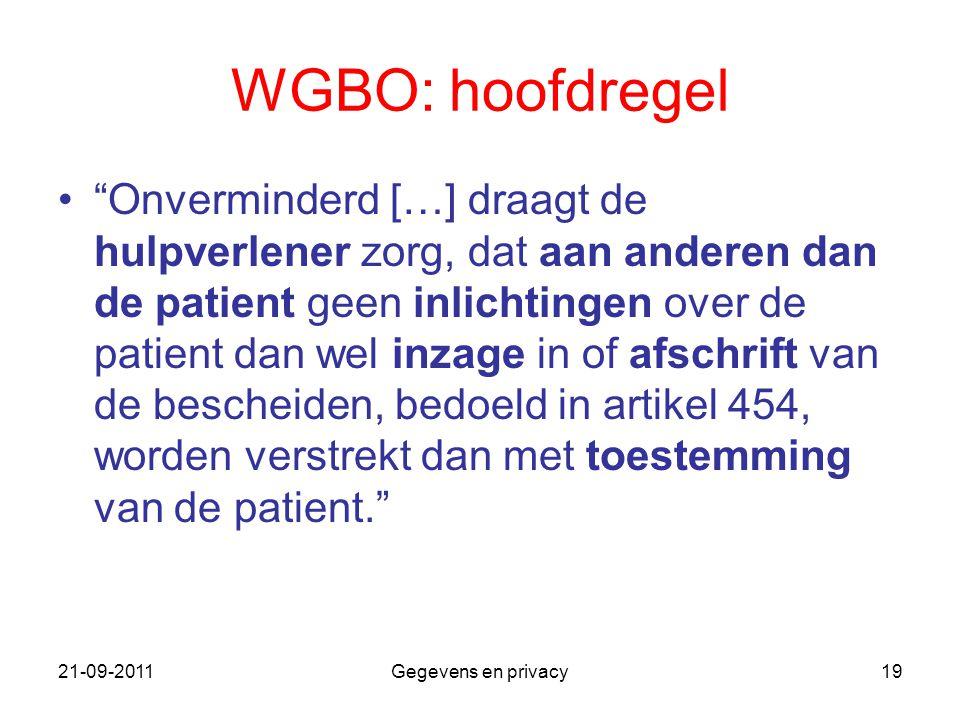 """21-09-2011Gegevens en privacy19 WGBO: hoofdregel """"Onverminderd […] draagt de hulpverlener zorg, dat aan anderen dan de patient geen inlichtingen over"""