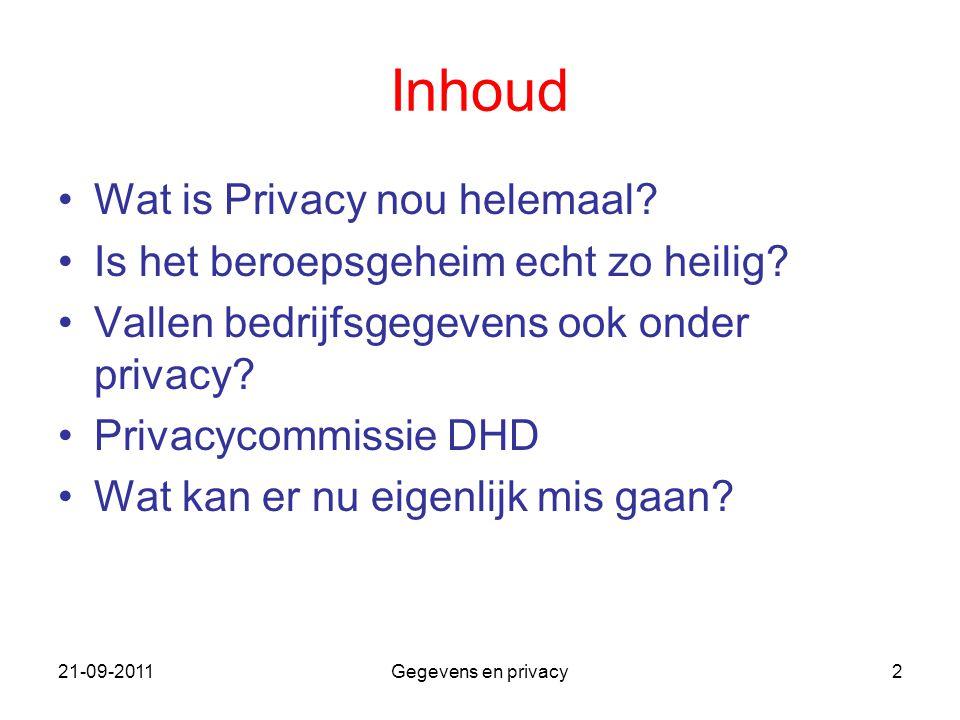 21-09-2011Gegevens en privacy2 Inhoud Wat is Privacy nou helemaal? Is het beroepsgeheim echt zo heilig? Vallen bedrijfsgegevens ook onder privacy? Pri