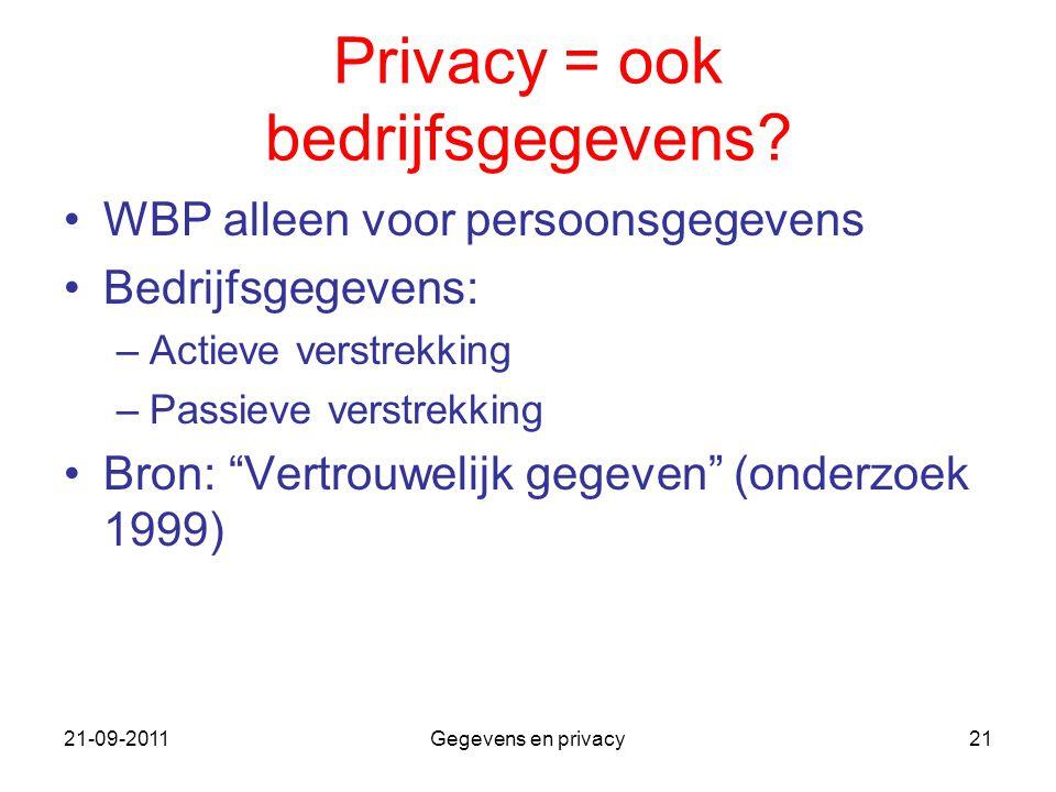 21-09-2011Gegevens en privacy21 Privacy = ook bedrijfsgegevens? WBP alleen voor persoonsgegevens Bedrijfsgegevens: –Actieve verstrekking –Passieve ver