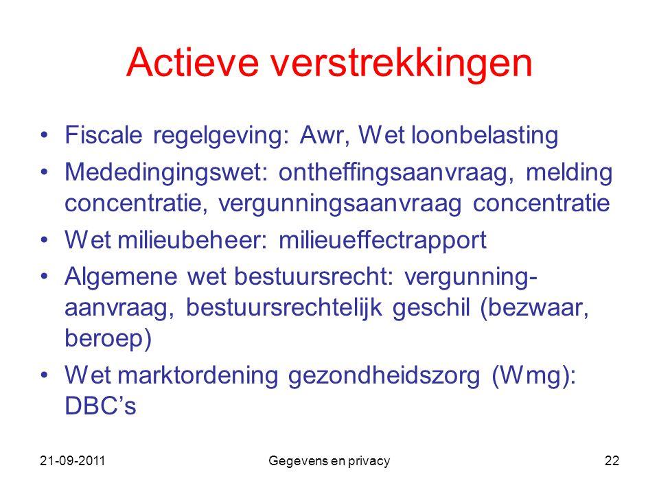 21-09-2011Gegevens en privacy22 Actieve verstrekkingen Fiscale regelgeving: Awr, Wet loonbelasting Mededingingswet: ontheffingsaanvraag, melding conce