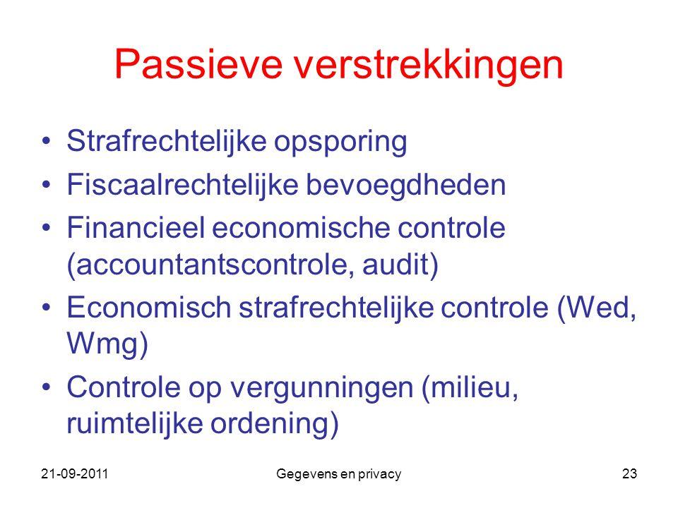 21-09-2011Gegevens en privacy23 Passieve verstrekkingen Strafrechtelijke opsporing Fiscaalrechtelijke bevoegdheden Financieel economische controle (ac