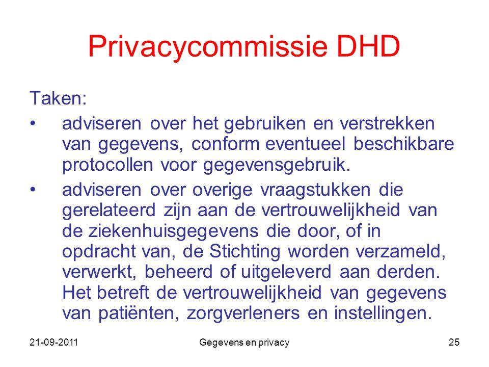 21-09-2011Gegevens en privacy25 Privacycommissie DHD Taken: adviseren over het gebruiken en verstrekken van gegevens, conform eventueel beschikbare pr
