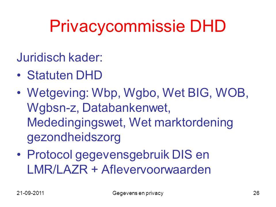 21-09-2011Gegevens en privacy26 Privacycommissie DHD Juridisch kader: Statuten DHD Wetgeving: Wbp, Wgbo, Wet BIG, WOB, Wgbsn-z, Databankenwet, Mededin