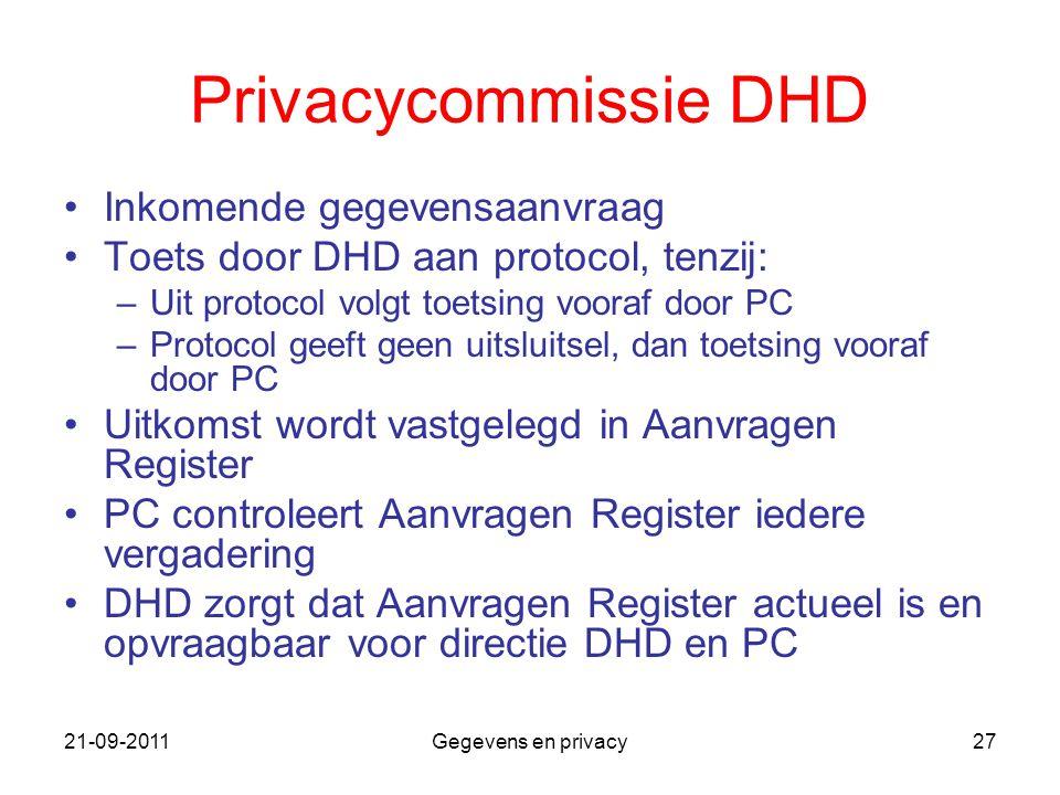 21-09-2011Gegevens en privacy27 Privacycommissie DHD Inkomende gegevensaanvraag Toets door DHD aan protocol, tenzij: –Uit protocol volgt toetsing voor