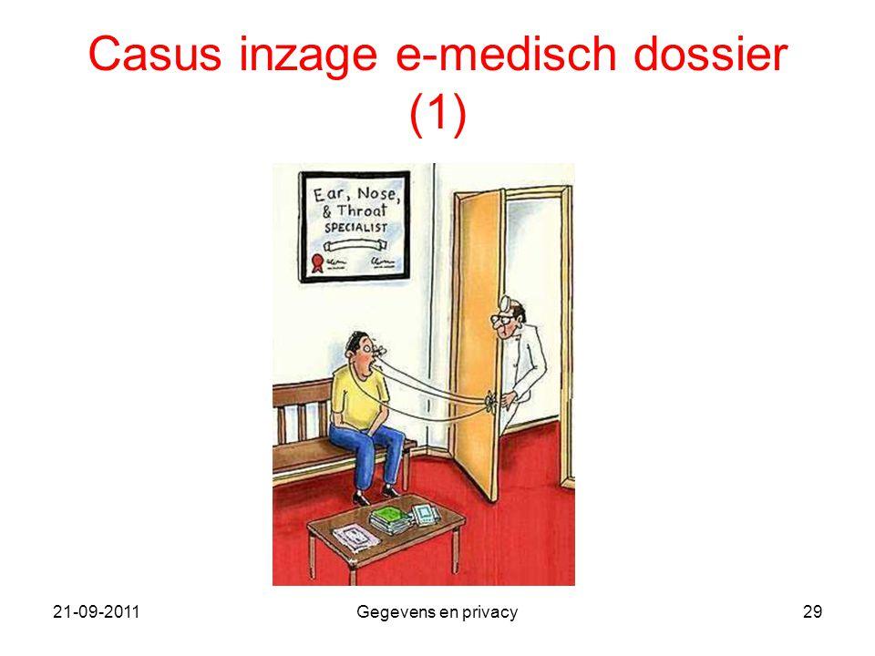 21-09-2011Gegevens en privacy29 Casus inzage e-medisch dossier (1)