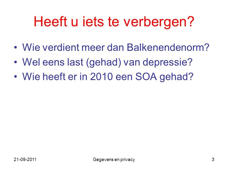 21-09-2011Gegevens en privacy3 Heeft u iets te verbergen? Wie verdient meer dan Balkenendenorm? Wel eens last (gehad) van depressie? Wie heeft er in 2