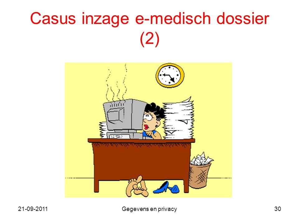 21-09-2011Gegevens en privacy30 Casus inzage e-medisch dossier (2)