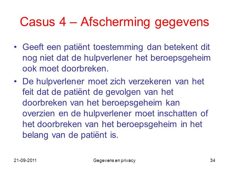 21-09-2011Gegevens en privacy34 Casus 4 – Afscherming gegevens Geeft een patiënt toestemming dan betekent dit nog niet dat de hulpverlener het beroeps