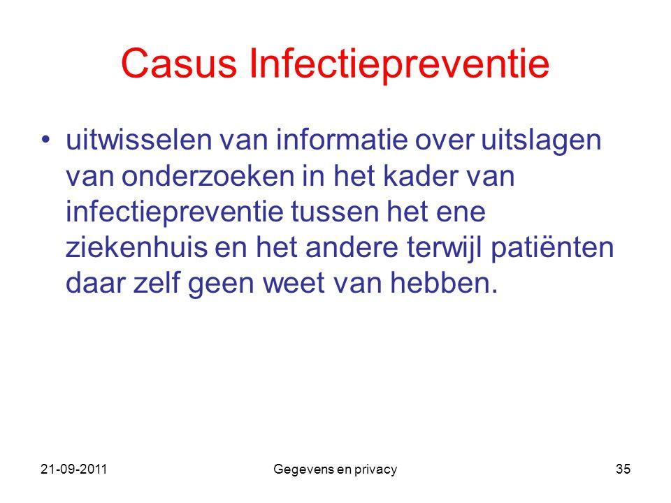 21-09-2011Gegevens en privacy35 Casus Infectiepreventie uitwisselen van informatie over uitslagen van onderzoeken in het kader van infectiepreventie t