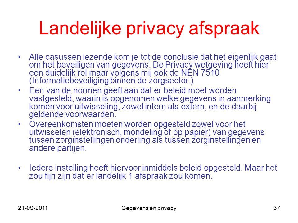 21-09-2011Gegevens en privacy37 Landelijke privacy afspraak Alle casussen lezende kom je tot de conclusie dat het eigenlijk gaat om het beveiligen van
