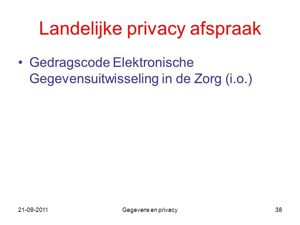 21-09-2011Gegevens en privacy38 Landelijke privacy afspraak Gedragscode Elektronische Gegevensuitwisseling in de Zorg (i.o.)