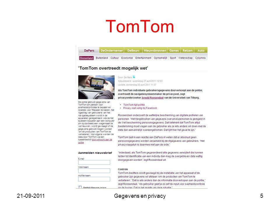 21-09-2011Gegevens en privacy5 TomTom
