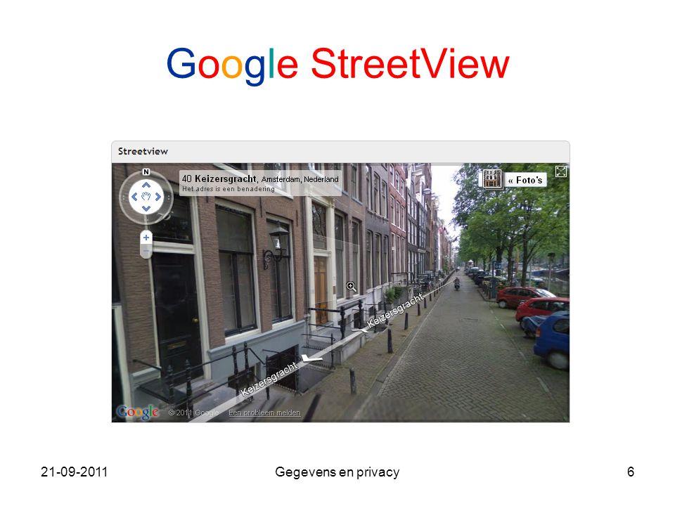 21-09-2011Gegevens en privacy6 Google StreetView