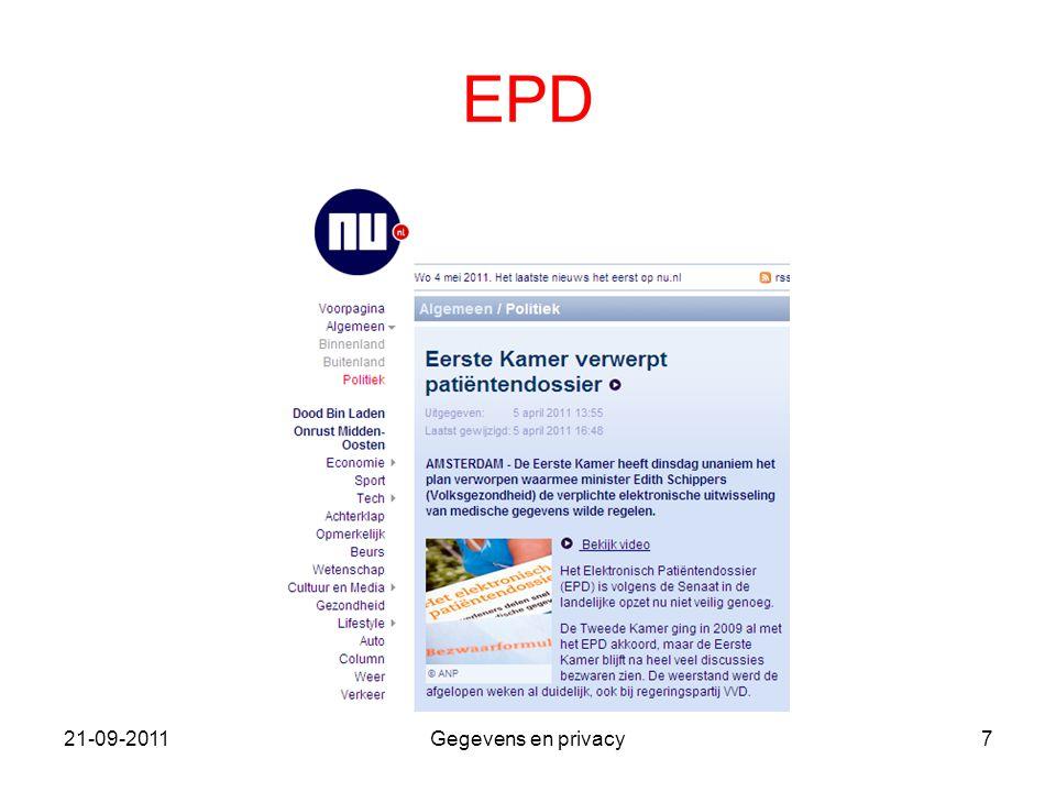 21-09-2011Gegevens en privacy7 EPD