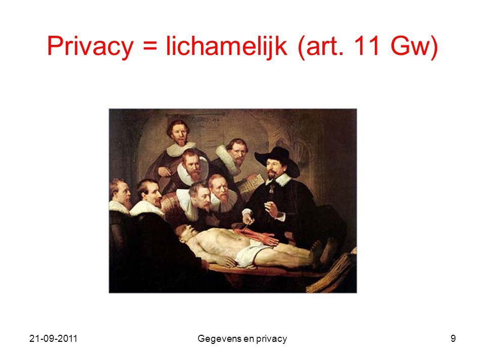 21-09-2011Gegevens en privacy9 Privacy = lichamelijk (art. 11 Gw)