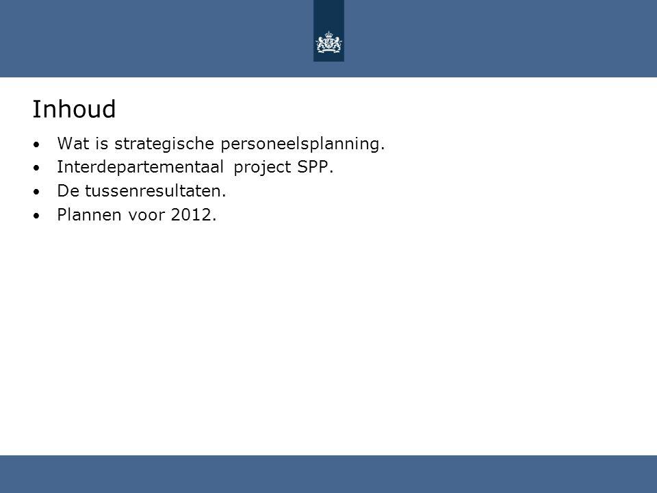 Inhoud Wat is strategische personeelsplanning. Interdepartementaal project SPP. De tussenresultaten. Plannen voor 2012.