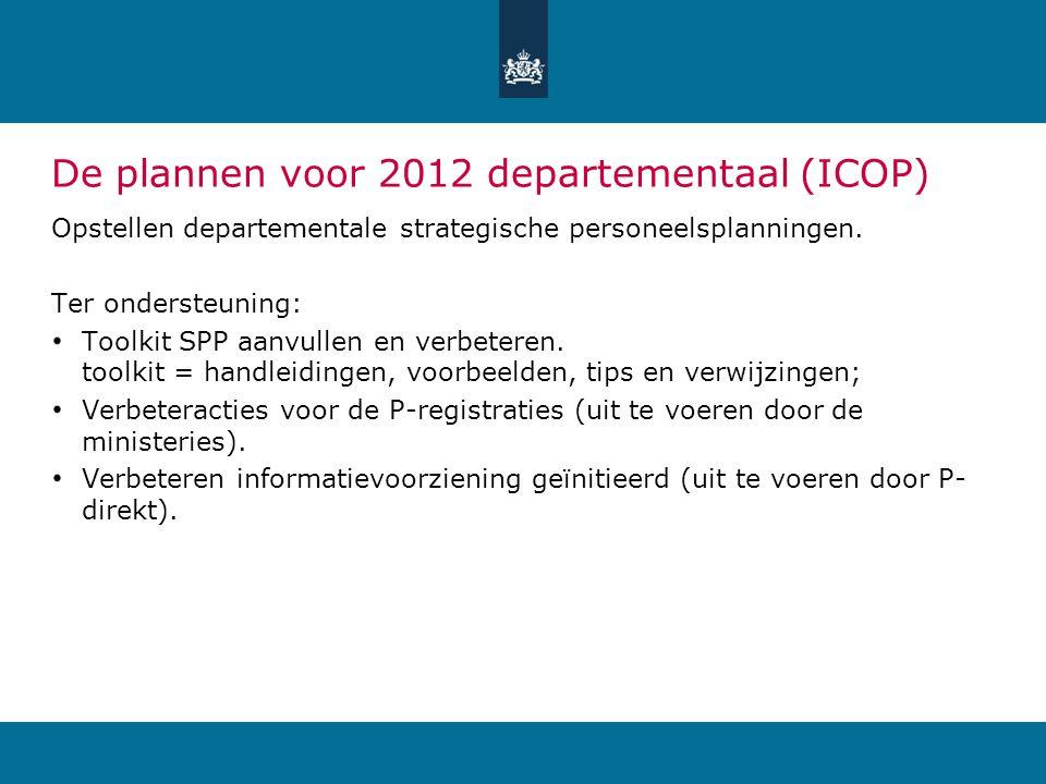 De plannen voor 2012 departementaal (ICOP) Opstellen departementale strategische personeelsplanningen. Ter ondersteuning: Toolkit SPP aanvullen en ver