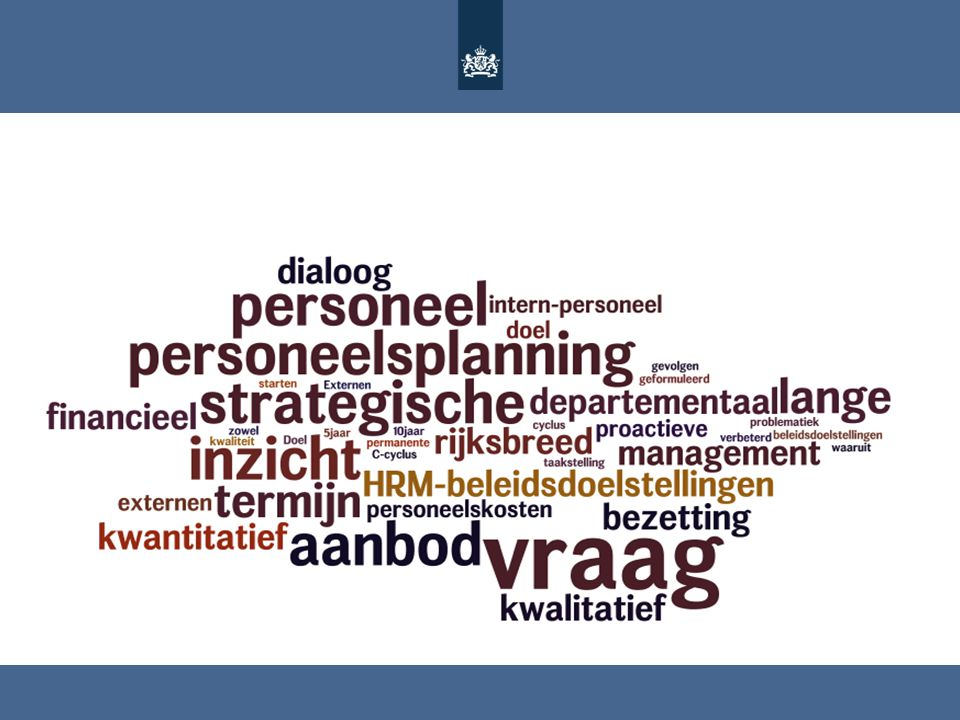 Doel van strategische personeelsplanning is om zowel rijksbreed als departementaal verbeterd inzicht krijgen in de problematiek m.b.t. vraag en aanbod