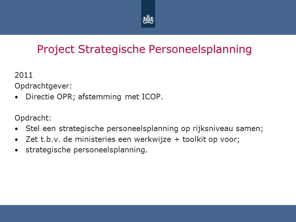 Project Strategische Personeelsplanning 2011 Opdrachtgever: Directie OPR; afstemming met ICOP. Opdracht: Stel een strategische personeelsplanning op r