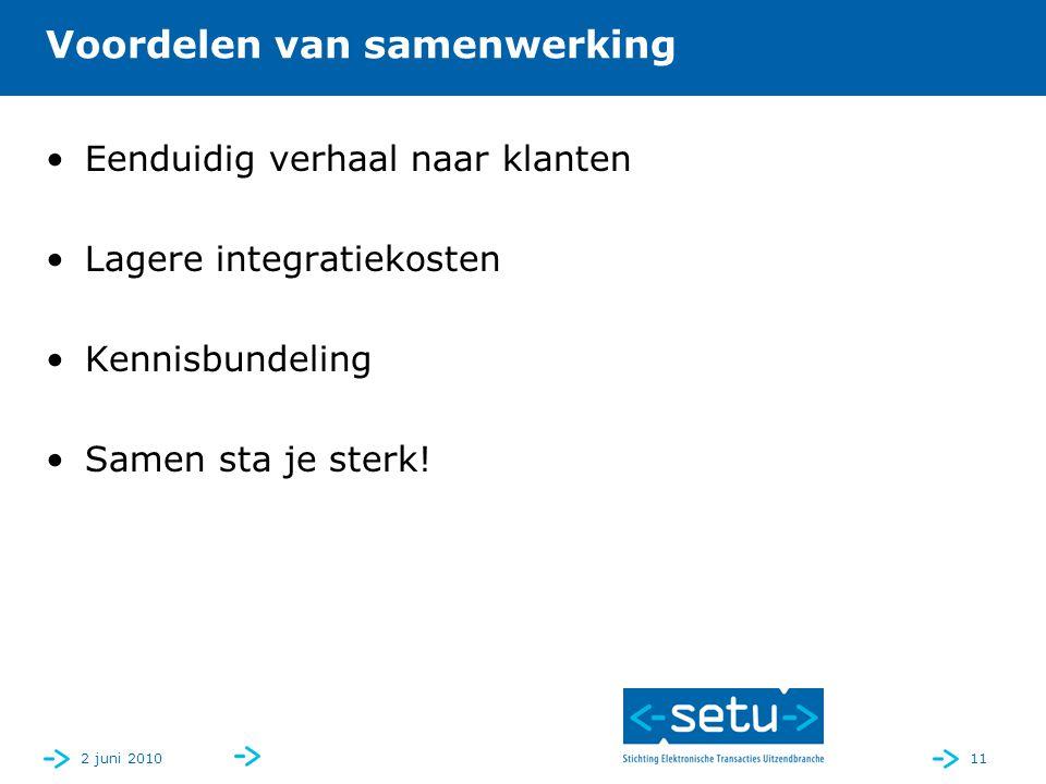 2 juni 201011 Voordelen van samenwerking Eenduidig verhaal naar klanten Lagere integratiekosten Kennisbundeling Samen sta je sterk!