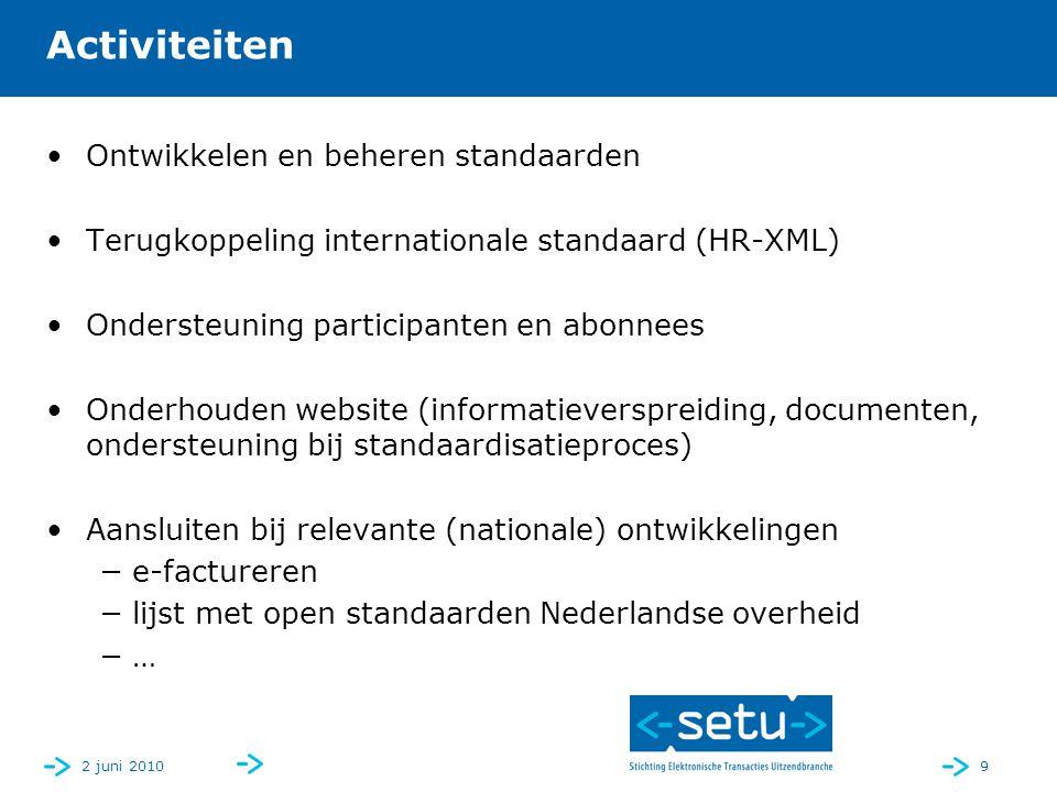 2 juni 20109 Activiteiten Ontwikkelen en beheren standaarden Terugkoppeling internationale standaard (HR-XML) Ondersteuning participanten en abonnees Onderhouden website (informatieverspreiding, documenten, ondersteuning bij standaardisatieproces) Aansluiten bij relevante (nationale) ontwikkelingen −e-factureren −lijst met open standaarden Nederlandse overheid −…