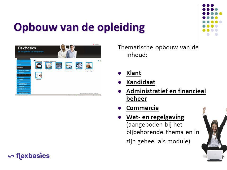 Opbouw van de opleiding Thematische opbouw van de inhoud: Klant Kandidaat Administratief en financieel beheer Commercie Wet- en regelgeving (aangebode
