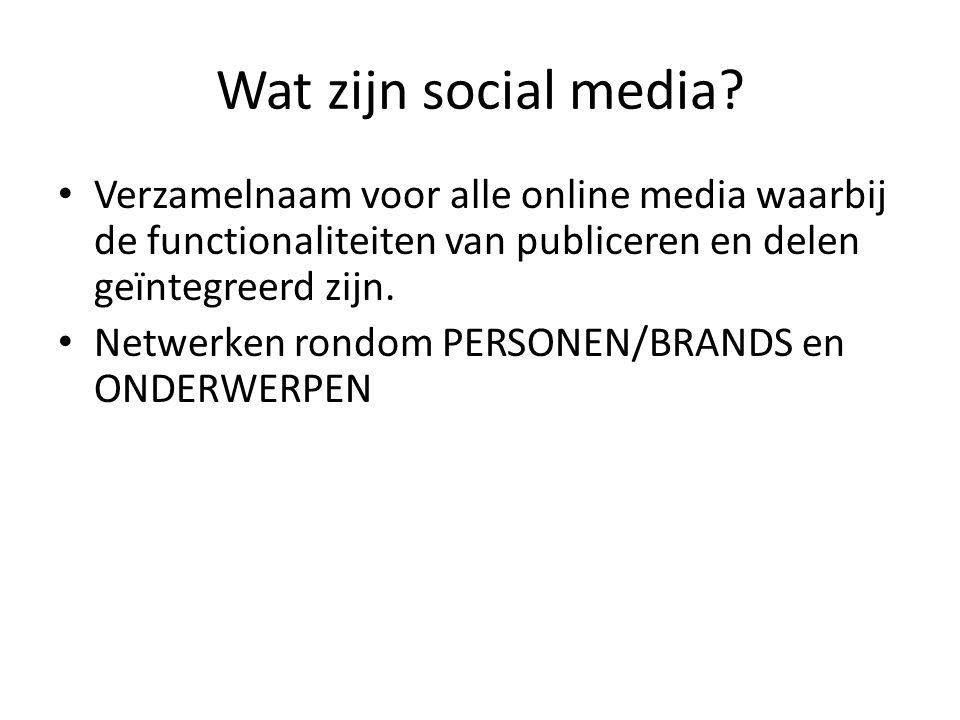 Wat zijn social media? Verzamelnaam voor alle online media waarbij de functionaliteiten van publiceren en delen geïntegreerd zijn. Netwerken rondom PE