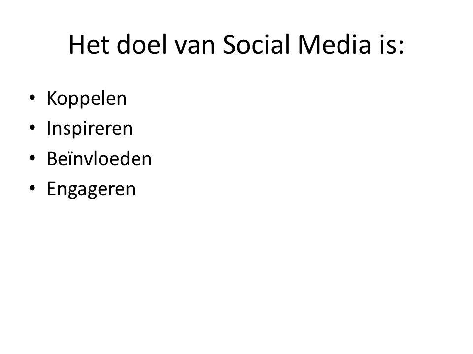 Het doel van Social Media is: Koppelen Inspireren Beïnvloeden Engageren