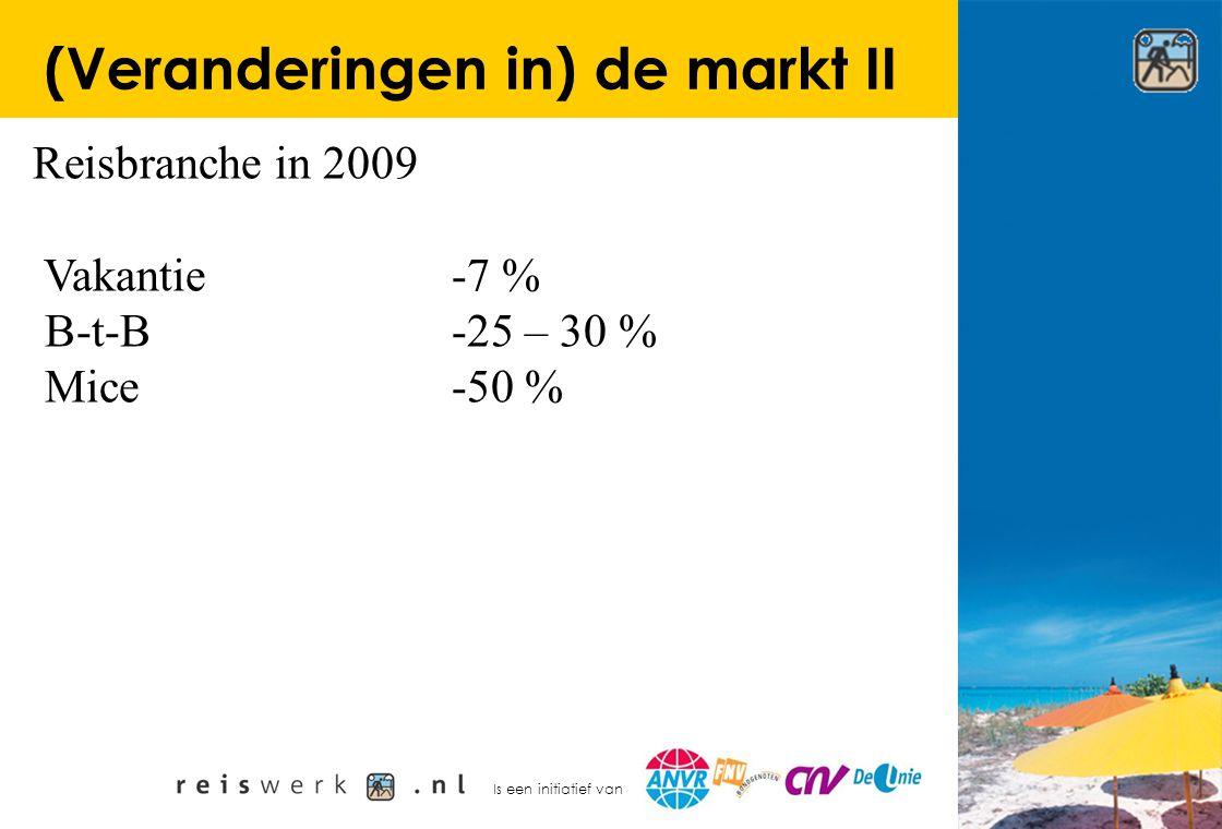 Is een initiatief van (Veranderingen in) de markt II Reisbranche in 2009 Vakantie-7 % B-t-B-25 – 30 % Mice-50 %