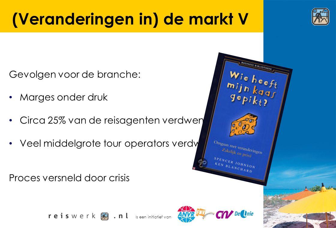 Is een initiatief van (Veranderingen in) de markt V Gevolgen voor de branche: Marges onder druk Circa 25% van de reisagenten verdwenen Veel middelgrot