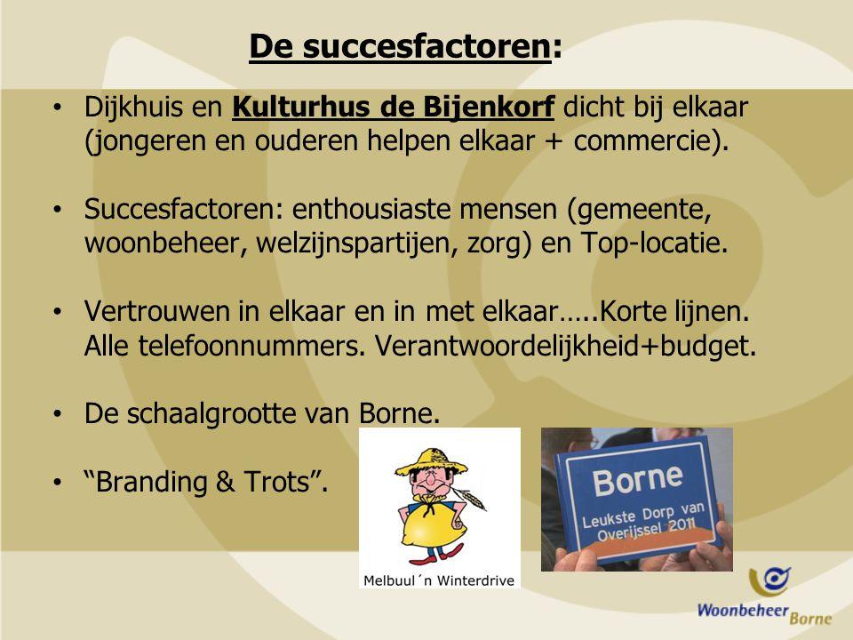 De succesfactoren: Dijkhuis en Kulturhus de Bijenkorf dicht bij elkaar (jongeren en ouderen helpen elkaar + commercie). Succesfactoren: enthousiaste m