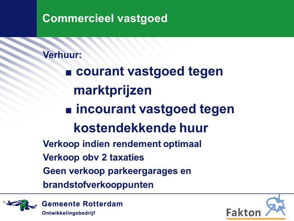 Commercieel vastgoed Verhuur:. courant vastgoed tegen marktprijzen. incourant vastgoed tegen kostendekkende huur Verkoop indien rendement optimaal Ver
