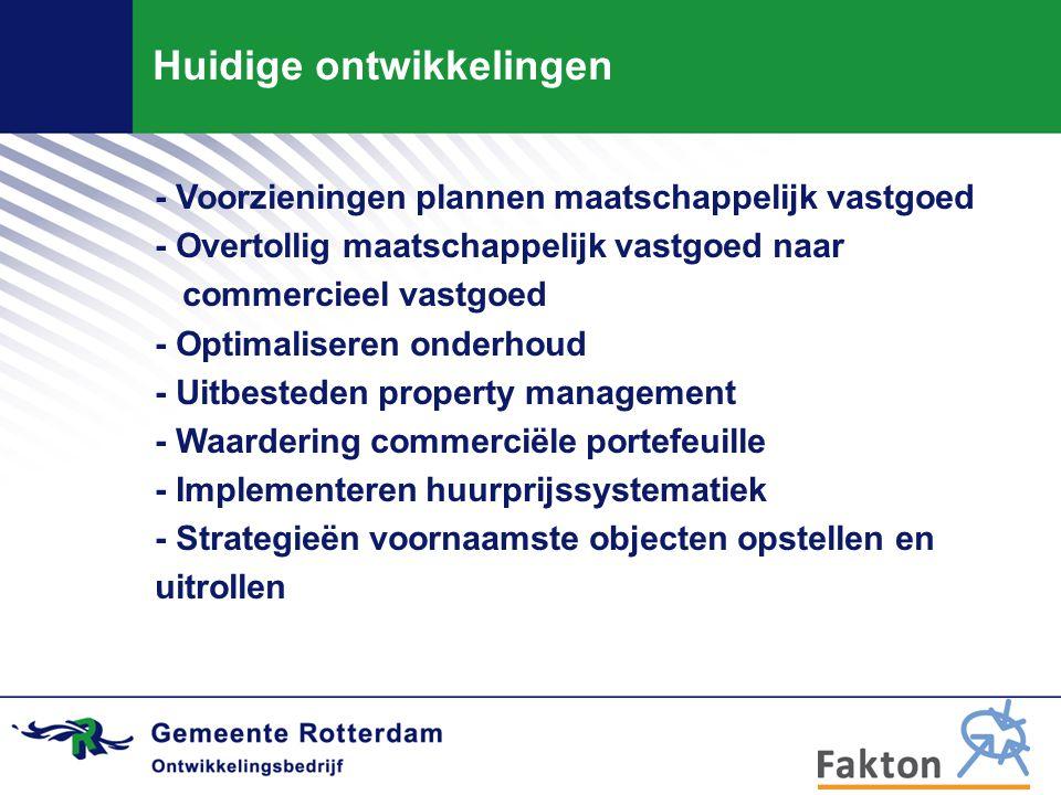 Huidige ontwikkelingen - Voorzieningen plannen maatschappelijk vastgoed - Overtollig maatschappelijk vastgoed naar commercieel vastgoed - Optimaliseren onderhoud - Uitbesteden property management - Waardering commerciële portefeuille - Implementeren huurprijssystematiek - Strategieën voornaamste objecten opstellen en uitrollen