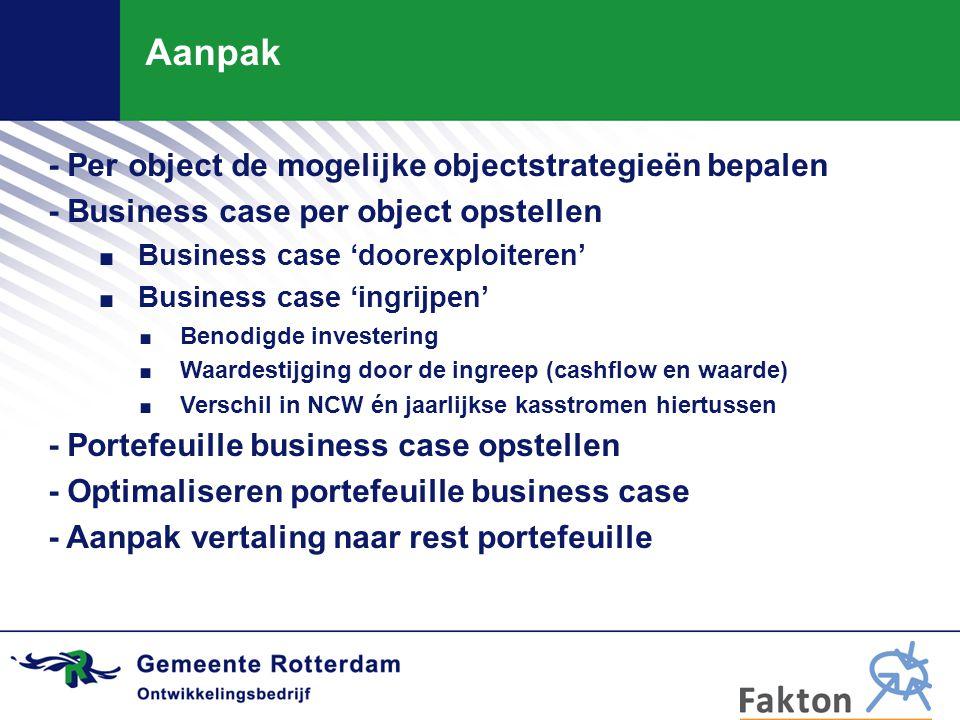 Aanpak - Per object de mogelijke objectstrategieën bepalen - Business case per object opstellen. Business case 'doorexploiteren'. Business case 'ingri