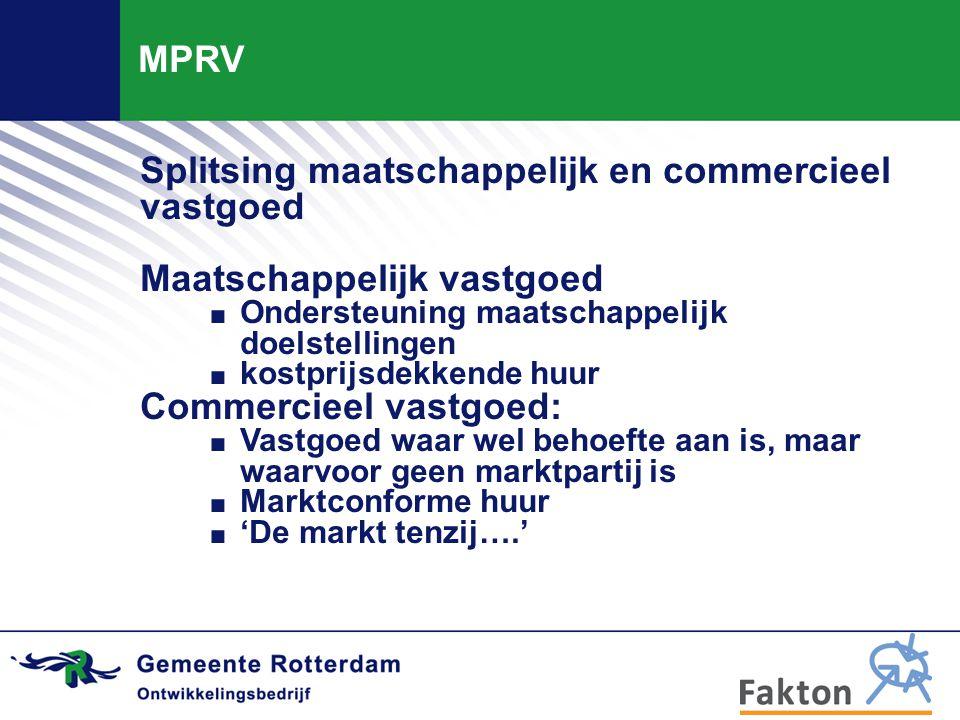 MPRV Splitsing maatschappelijk en commercieel vastgoed Maatschappelijk vastgoed. Ondersteuning maatschappelijk doelstellingen. kostprijsdekkende huur