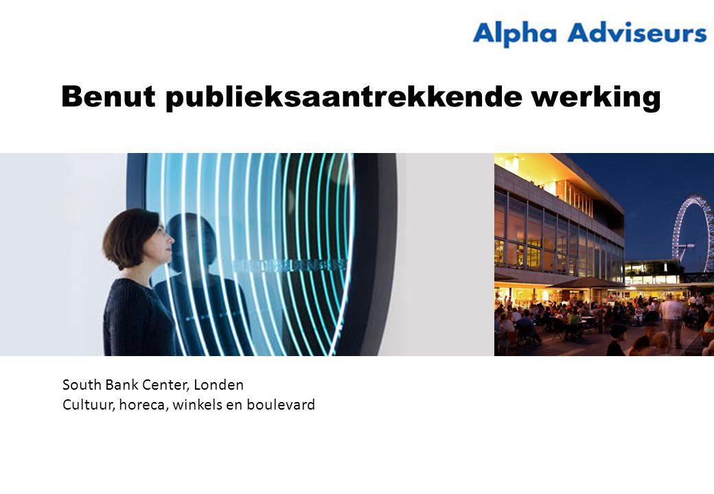 Benut publieksaantrekkende werking South Bank Center, Londen Cultuur, horeca, winkels en boulevard