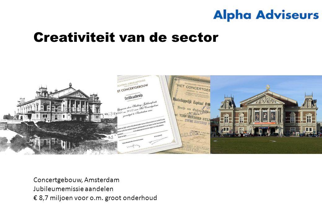 Creativiteit van de sector Concertgebouw, Amsterdam Jubileumemissie aandelen € 8,7 miljoen voor o.m.