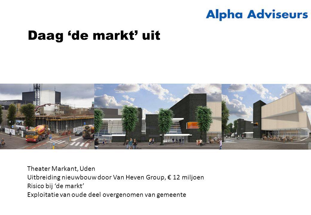 Daag 'de markt' uit Theater Markant, Uden Uitbreiding nieuwbouw door Van Heven Group, € 12 miljoen Risico bij 'de markt' Exploitatie van oude deel overgenomen van gemeente