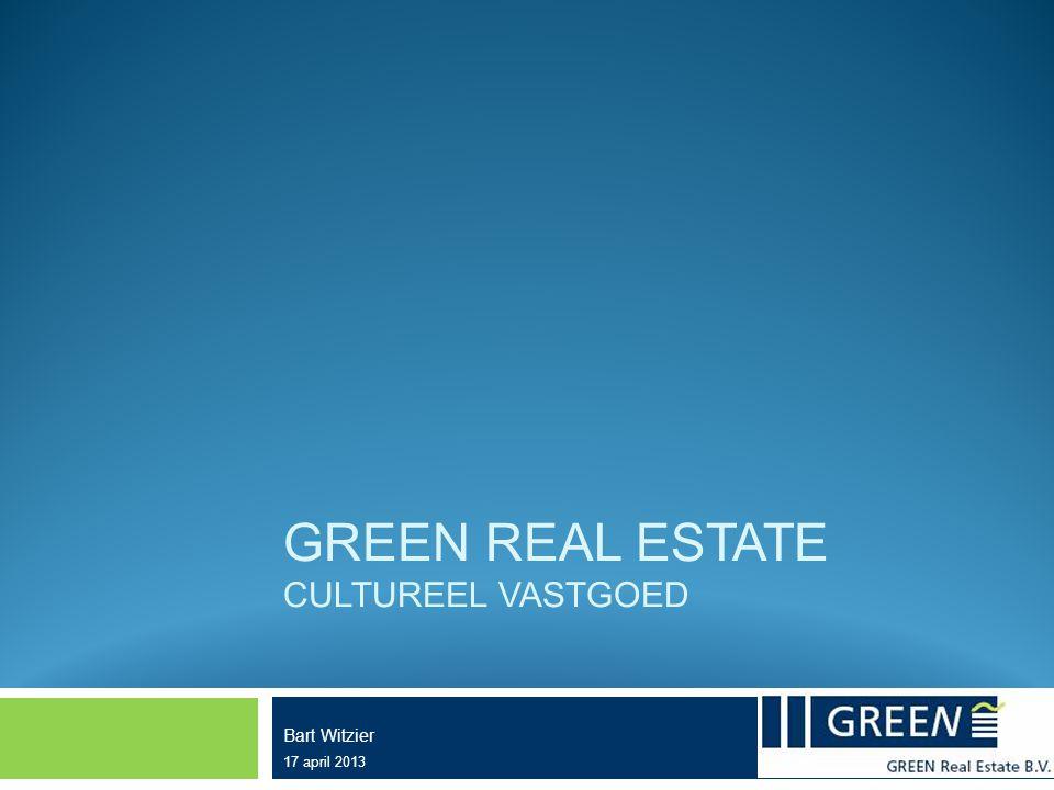  Wat verstaat Green onder cultureel vastgoed: - Publiek toegankelijk - Overheidstaak - Maatschappelijk 'dienen' doel - Uiteindelijk gaat het ook om een gebouw