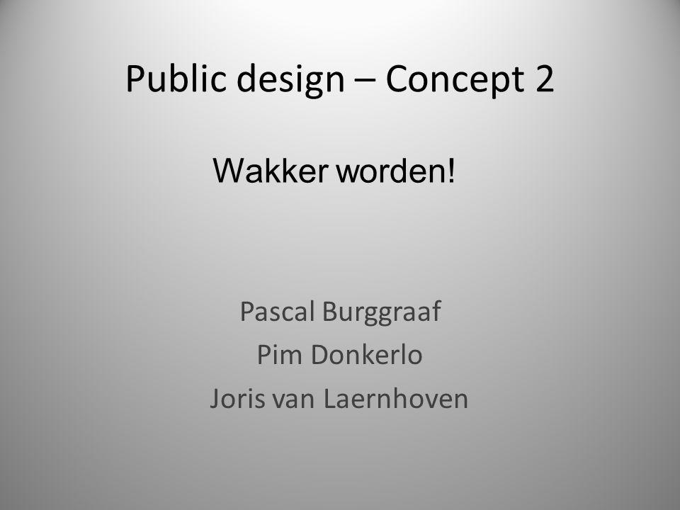 Public design – Concept 2 Pascal Burggraaf Pim Donkerlo Joris van Laernhoven Wakker worden!