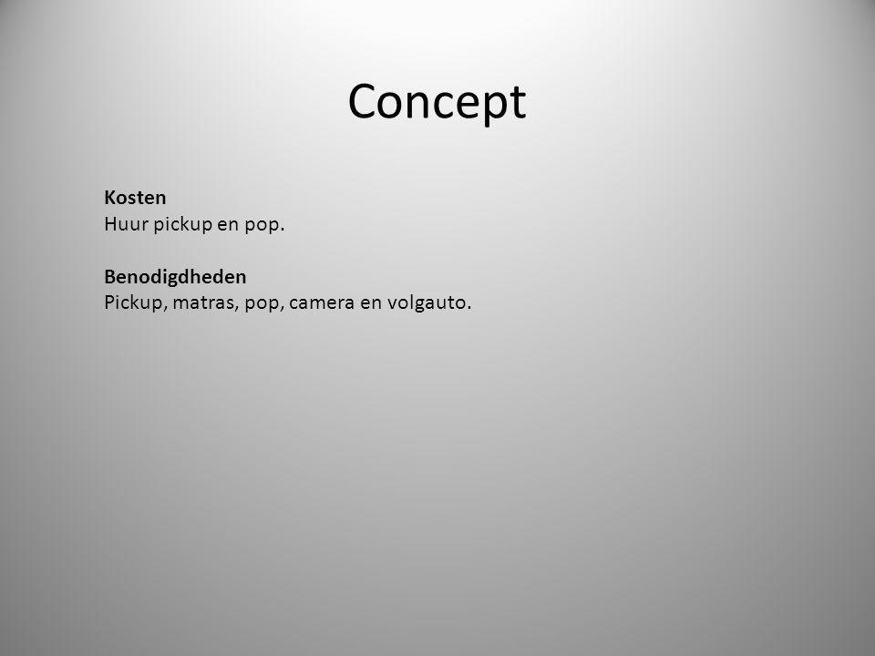 Concept Kosten Huur pickup en pop. Benodigdheden Pickup, matras, pop, camera en volgauto.