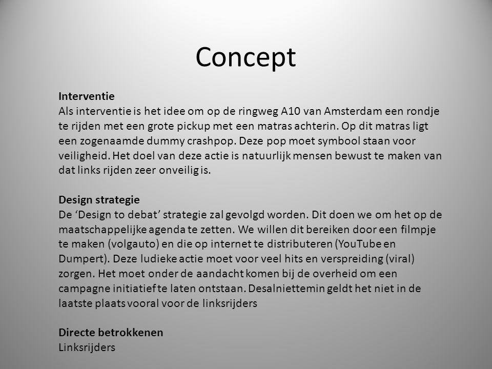 Concept Interventie Als interventie is het idee om op de ringweg A10 van Amsterdam een rondje te rijden met een grote pickup met een matras achterin.