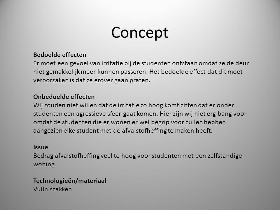Concept Bedoelde effecten Er moet een gevoel van irritatie bij de studenten ontstaan omdat ze de deur niet gemakkelijk meer kunnen passeren.