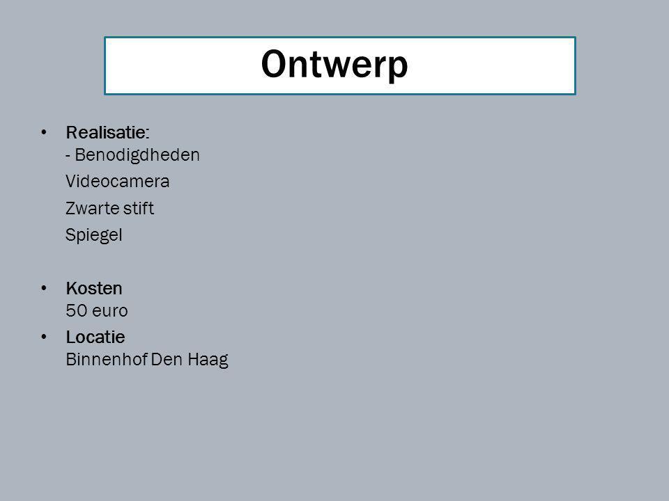 Realisatie: - Benodigdheden Videocamera Zwarte stift Spiegel Kosten 50 euro Locatie Binnenhof Den Haag Ontwerp