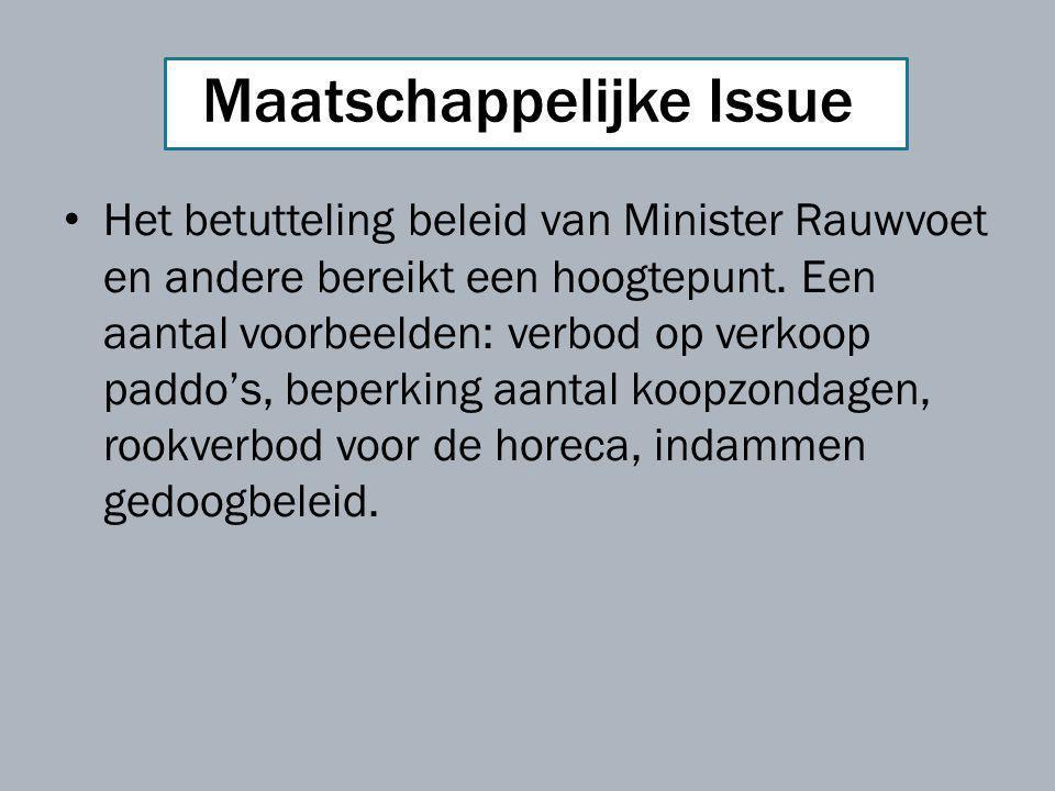 Maatschappelijke Issue Het betutteling beleid van Minister Rauwvoet en andere bereikt een hoogtepunt. Een aantal voorbeelden: verbod op verkoop paddo'